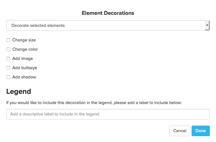 Decorate selected elements modal