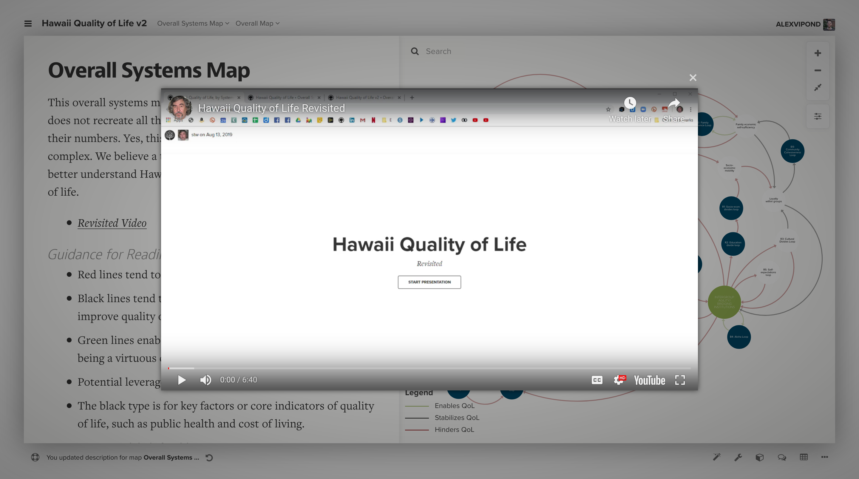 Lightbox showing a YouTube video in Kumu